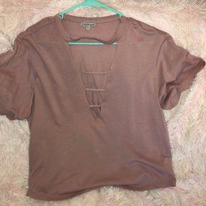 Low cut tee shirt with cutout design